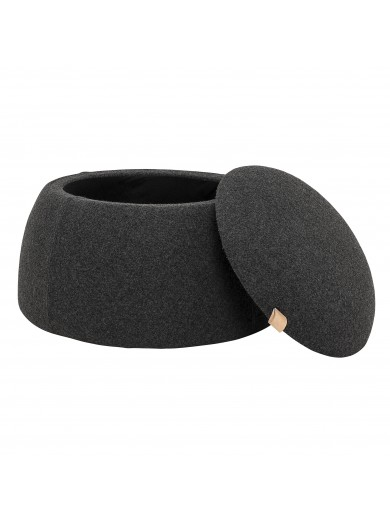 Rock Pouf, Grey, Wool