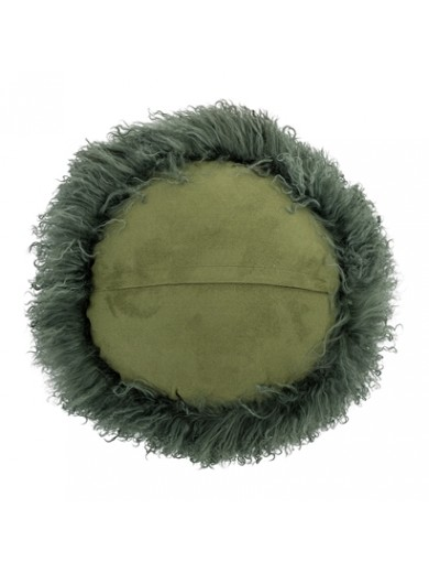 Cushion, Green, Lambskin Mongolian