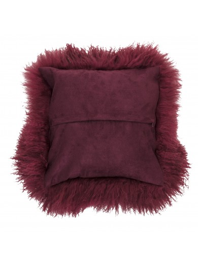 Cushion, Red, Lambskin Mongolian