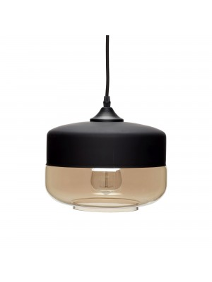 Lamp, glass/metal, black/grey