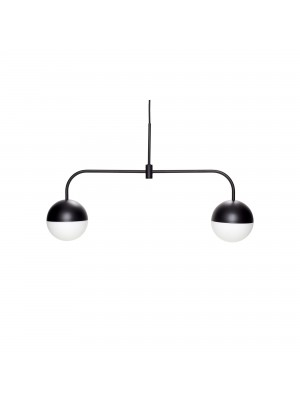 Pendant lamp, metal, black/opal