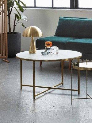 Table, metal/glass, white/brass