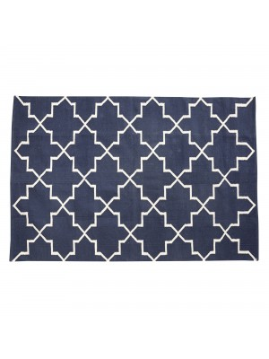 Rug, woven, cotton, blue/nature