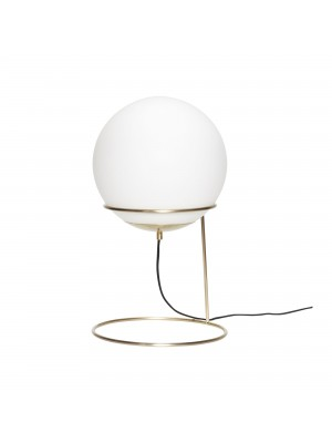 Floor lamp, brass/white, metal/glass