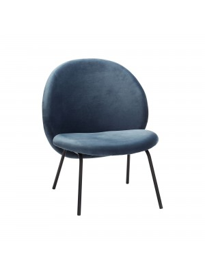 Lounge chair, metal legs, black/blue, velour